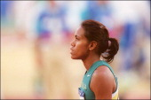 Sydney Olympics Women's 200m final in Sydney Australia on September 28 2000 Cathy Freeman