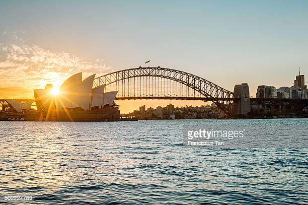 CONTENT] Sydney Opera House and Harbour Bridge taken from Mrs Macquarie's chair during golden hour Backlit shot with a sun star burst