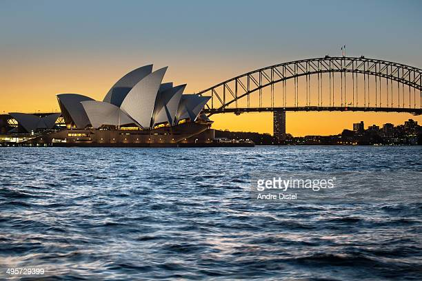 CONTENT] Sydney Opera House at sunset from MacQuaries Chair