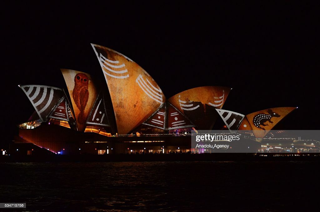 Sydney Opera House is being illuminated with lights, displaying different colors and shape within the activities of 'Vivid Sydney' on May 27, 2016 in Sydney, Australia. Vivid Sydney, now in its eighth year, is Australia's major event in winter and is recognised as the largest event of its kind in the world combining light, music and ideas. Vivid Sydney is owned, managed and produced by Destination NSW, the NSW Governments tourism and major events agency.