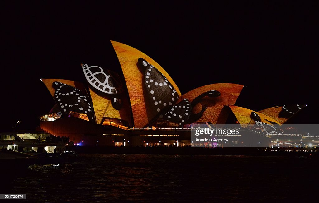 Sydney opera house is being illuminated with lights for Pool show sydney 2016