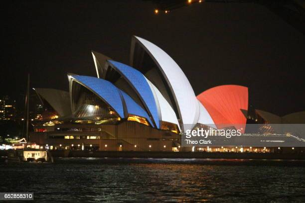 Sydney Opera House lit in colours of French Flag