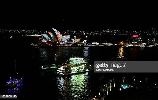 Sydney Opera House sails light up as part of Vivid Sydney on May 27 2016 in Sydney Australia Vivid Sydney is an annual festival that features light...