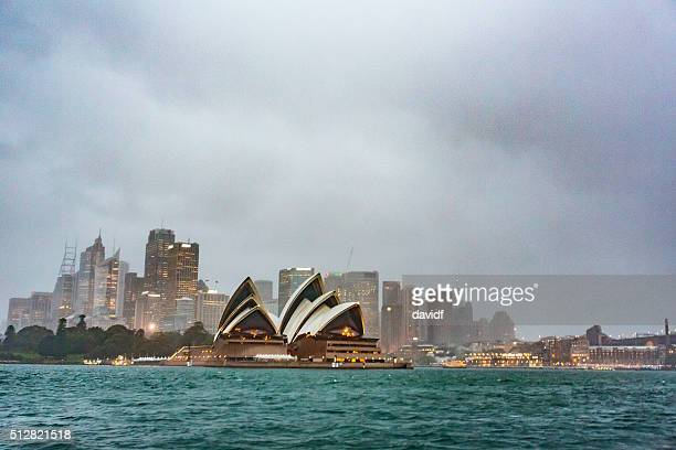 Sydney Opera House with City Skyline During a Harbour Storm