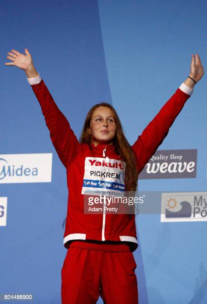 Sydney Pickrem of Canada celebrates winning her Bronze Medal in the Women's 400m Individual Medley on day seventeen of the Budapest 2017 FINA World...