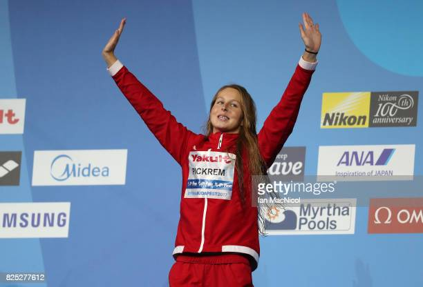Sydney Pickrem of Canada revives her bronze medal from the Women's 400m IM final during day seventeen of the FINA World Championships at the Duna...