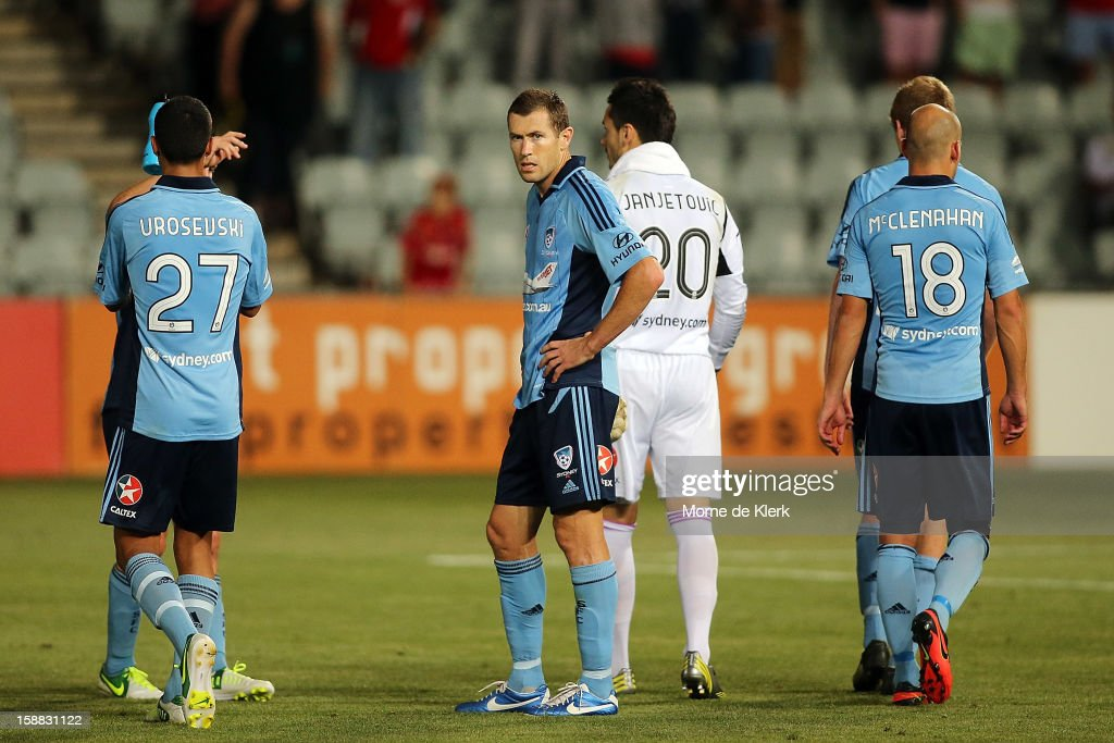 Sydney players react after the round 14 A-League match between Adelaide United and Sydney FC at Hindmarsh Stadium on December 31, 2012 in Adelaide, Australia.