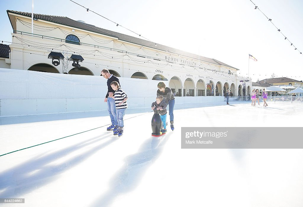 Sydney siders skate at Bondi Beach on July 2, 2016 in Sydney, Australia. Australia's only beachside ice rink is part of the Bondi Winter Magic Festival, which celebrates the beauty of Bondi during the winter months.