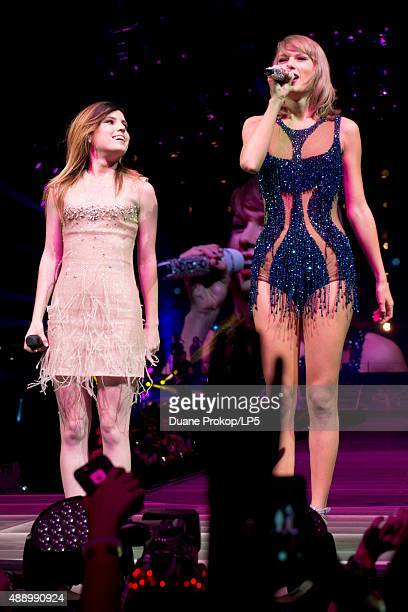 Sydney Sierota and Taylor Swift perform during The 1989 World Tour at Nationwide Arena on September 18 2015 in Columbus Ohio