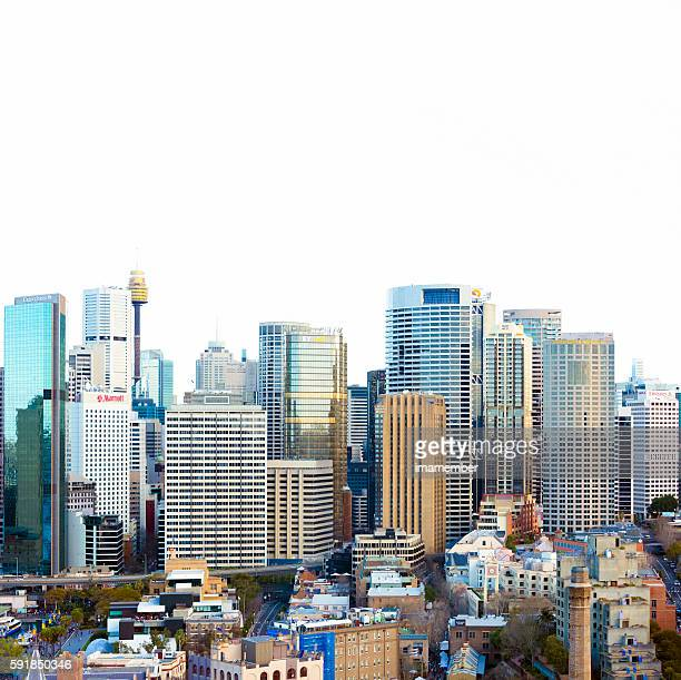 Sydney skyline against white square background with copy space