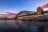 Sydney skyline at dawn.