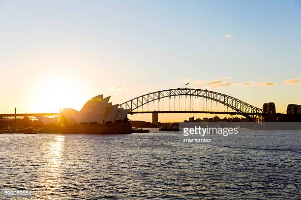 Sydney sunset with Opera House and Harbour Bridge, copy space