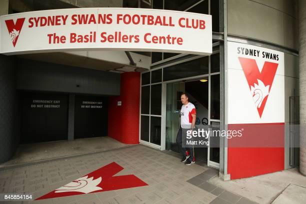 Sydney Swans AFL coach John Longmire arrives to speak to the media during a press conference at Sydney Cricket Ground on September 12 2017 in Sydney...