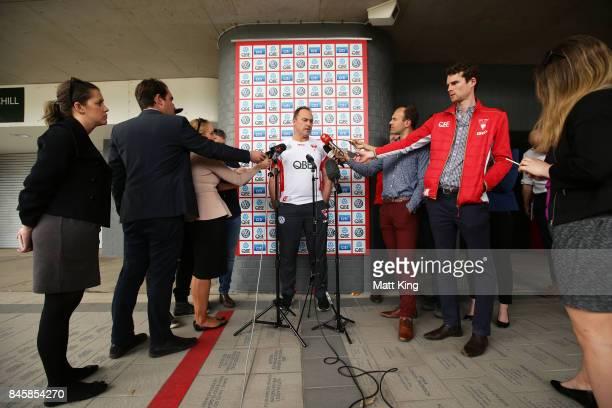 Sydney Swans AFL coach John Longmire speaks to the media during a press conference at Sydney Cricket Ground on September 12 2017 in Sydney Australia