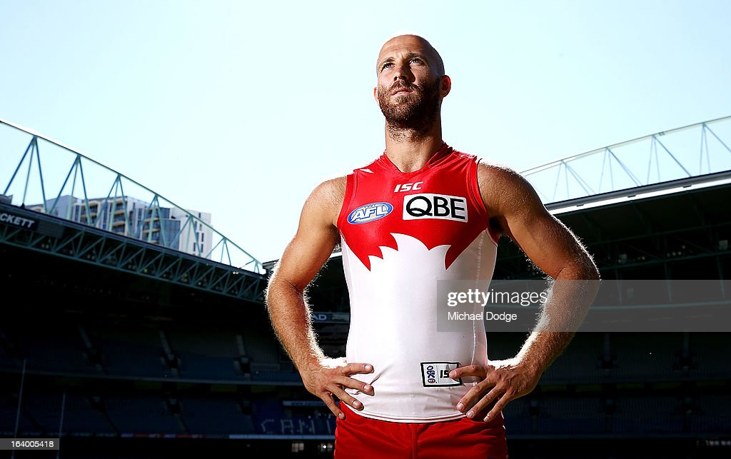 Sydney Swans captain <a gi-track='captionPersonalityLinkClicked' href=/galleries/search?phrase=Jarrad+McVeigh&family=editorial&specificpeople=3083250 ng-click='$event.stopPropagation()'>Jarrad McVeigh</a> poses during the AFL Captains media Day at Etihad Stadium on March 19, 2013 in Melbourne, Australia.