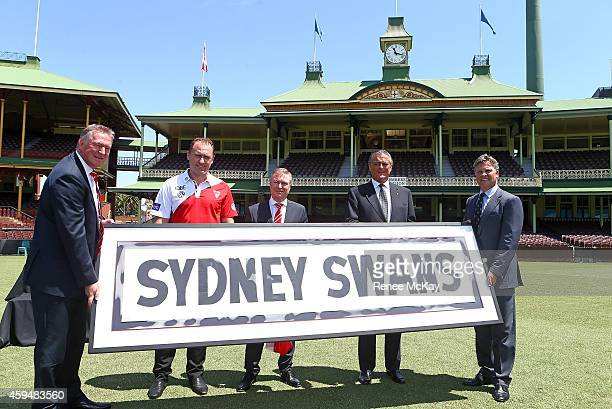 Sydney Swans Chief Executive AndrewIreland Coach John Longmire Sydney Swans Chairman Andrew Pridham SCG Trust Deputy Chairman Rod McGeoch and SCG...