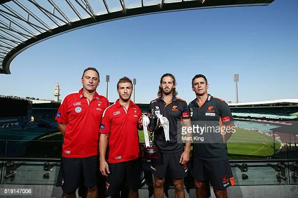 Sydney Swans coach John Longmire Sydney Swans cocaptain Keiren Jack GWS Giants cocaptain Callum Ward and GWS Giants coach Leon Cameron pose during an...