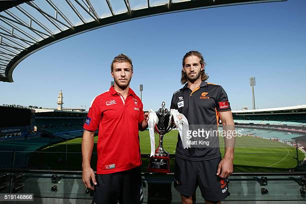 Sydney Swans cocaptain Keiren Jack and GWS Giants cocaptain Callum Ward pose during an AFL press conference at Sydney Cricket Ground on April 5 2016...