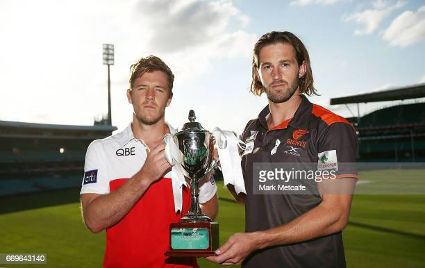 Sydney Swans vicecaptain Luke Parker and GWS Giants captain Callan Ward pose during an AFL press conference at Sydney Cricket Ground on April 18 2017...