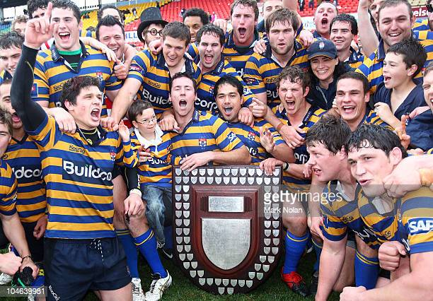 Sydney Uni players celebrate winning the Shute Shield Grand Final match between Randwick and Sydney University at Concord Oval on October 2 2010 in...