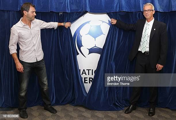 Sydney United Coach Mark Rudan and FFA CEO David Gallop unveil the National Premier League logo during a FFA press conference on February 13 2013 in...