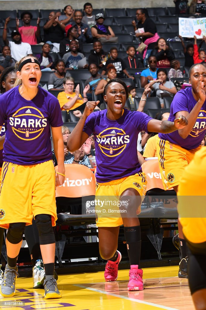 Sydney Wiese #24 and Tiffany Jackson-Jones #33 of the Los Angeles Sparks react to a play during the game against the Phoenix Mercury in Game One of the Semifinals during the 2017 WNBA Playoffs on September 12, 2017 at STAPLES Center in Los Angeles, California.