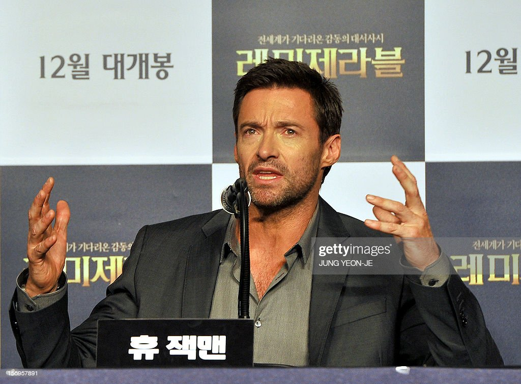 Sydney-born Hollywood star actor Hugh Jackman gestures during a press conference to promote his film 'Les Miserables' at a hotel in Seoul on November 26, 2012. The film will open in December in South Korea.