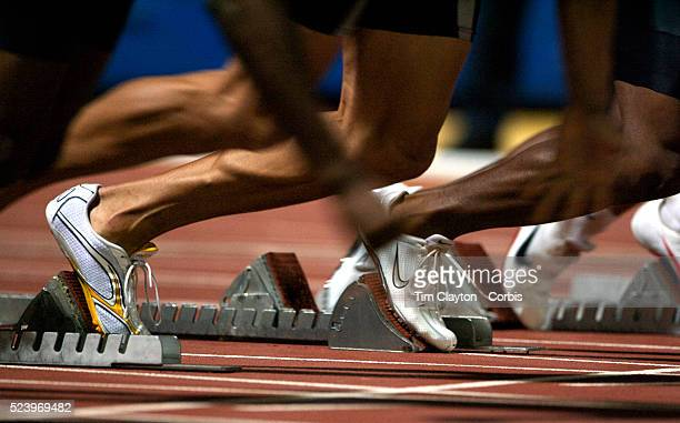 Athletes at the start of the 100m Events at the Sydney Track Classic 2009 held at Sydney Olympic Park Athletics Centre Sydney Australia on February...