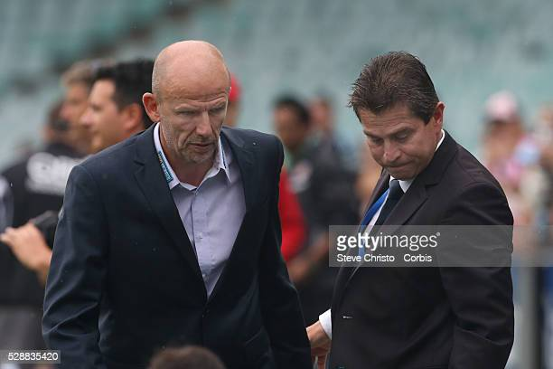 Sydney's coach Frank Farina greets Perth's coach Kenny Lowe before the match at Allianz Stadium Sydney Australia Saturday 15th February 2014