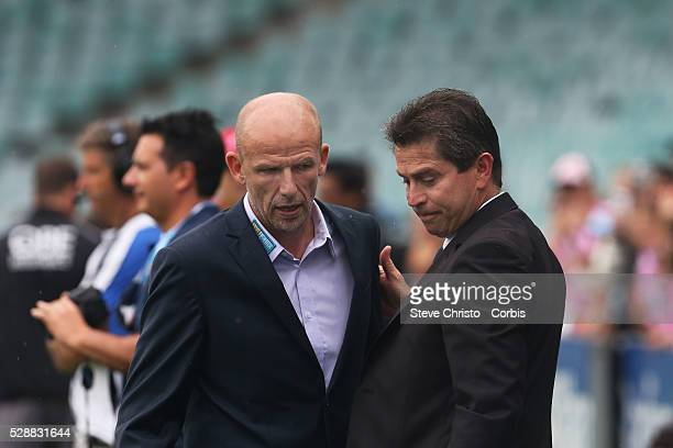 Sydney's coach Frank Farina shakes hands with Perth's coach Kenny Lowe before the match at Allianz Stadium Sydney Australia Saturday 15th February...