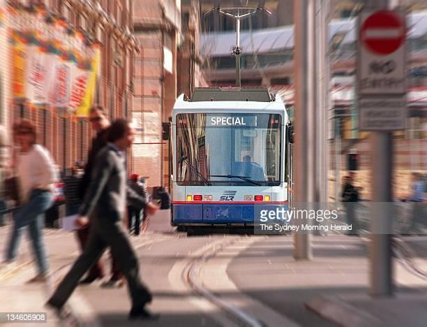 Sydney's light rail tram travels through Haymarket 28 July 1997