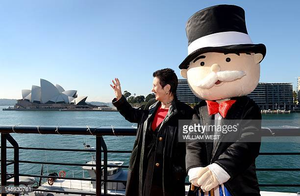 Sydney's Lord Mayor Clover Moore shows Mr Monopoly the sights of Sydney as it is announced that Sydney will have its own official Monopoly board on...
