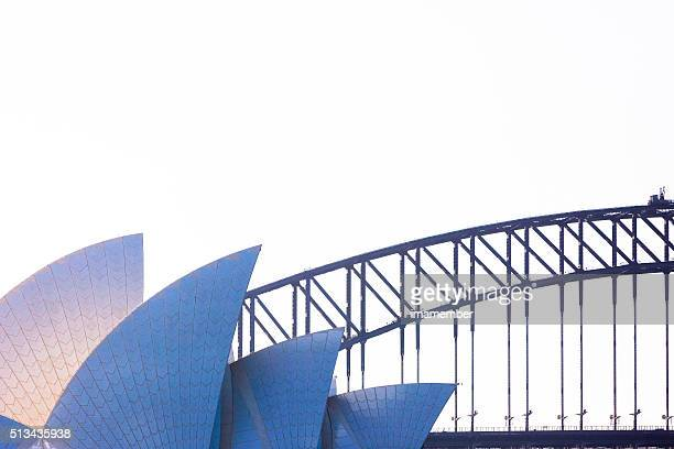 Sydney's Opera House against Harbour Bridge, copy space