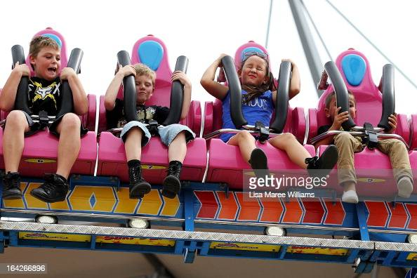 Sydneysiders take on the 'Surfs Up' ride at the Sydney Royal Easter Show on March 22 2013 in Sydney Australia Organisers are expecting over 900000...