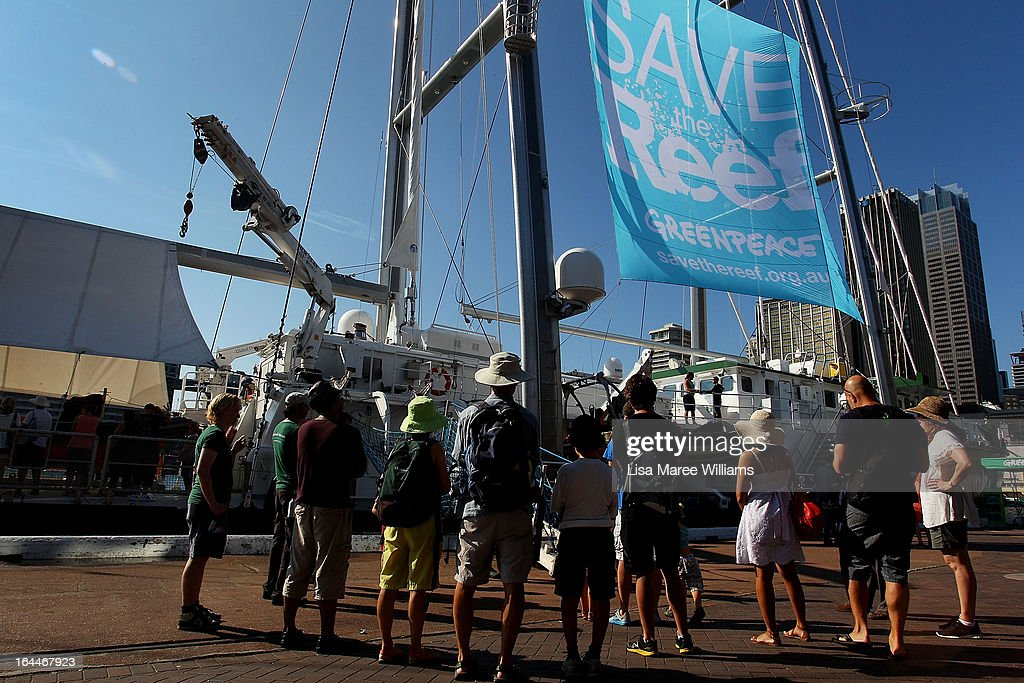 Sydneysiders visit the Greenpeace Rainbow Warrior, one of the most environmentaly-friendly ships ever made as it docks at the Overseas Passenger Terminal in Circular Quay on March 24, 2013 in Sydney, Australia. The vessel is in Australia to protest new coal mines set to open near the Great Barrier Reef, and is opening for public viewing at ports across the country. The original Rainbow Warrior was bombed and sunk in Auckland Harbour in 1985 by two French intelligent agents, killing a Dutch photographer on board.