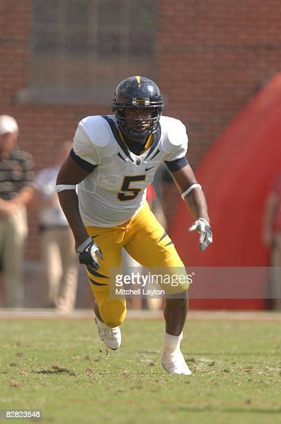 Syd'Qaun Thompson of the California Golden Eagles during a college football game against the Maryland Terrapins the at Byrd Stadium on September 13...