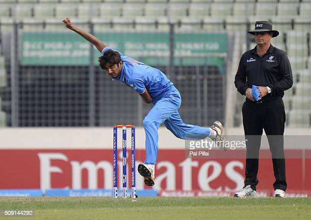 Syed Khaleel Ahmed of India bowls during the ICC U19 World Cup SemiFinal match between India and Sri Lanka on February 9 2016 in Dhaka Bangladesh