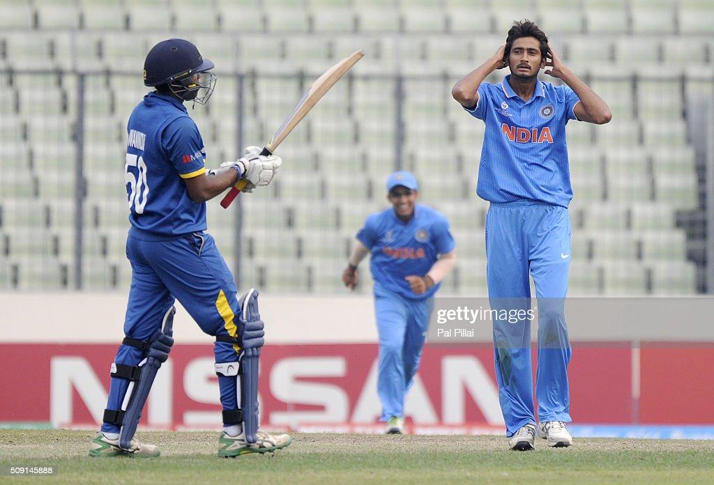 Syed Khaleel Ahmed of India reacts after claiming the wicket of Wanidu Hasaranga of Sri Lanka during the ICC U19 World Cup Semi-Final match between India and Sri Lanka on February 9, 2016 in Dhaka, Bangladesh.