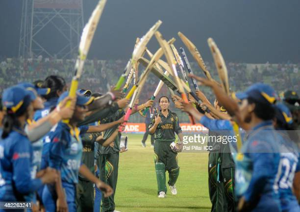 Syeda Batool of Pakistan receives a farewell from her teammates along with the Sri Lankan team as she declares her retirement from all form of...