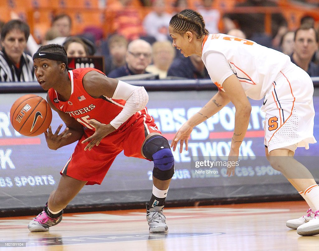Syessence Davis #15 of the Rutgers Scarlet Knights loses possession of the ball against Rachel Coffey #3 of the Syracuse Orange during the game at the Carrier Dome on February 19, 2013 in Syracuse, New York.