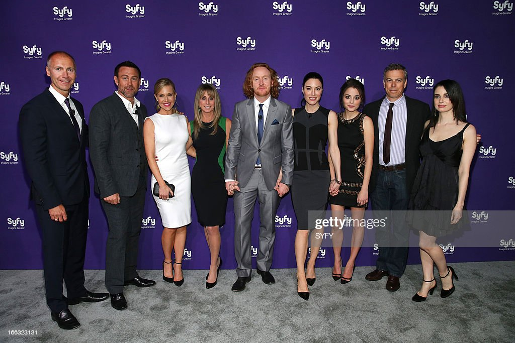 EVENTS -- '2013 Syfy Upfront At Silver Screen Studios in New York City' -- Pictured: (l-r) Dave Howe, President, Syfy; Grant Bowler, Julie Benz, Bonnie Hammer, Chairman, NBCUniversal Cable Entertainment; Tony Curran, Jaime Murray, <a gi-track='captionPersonalityLinkClicked' href=/galleries/search?phrase=Stephanie+Leonidas&family=editorial&specificpeople=716758 ng-click='$event.stopPropagation()'>Stephanie Leonidas</a>, Mark Stern, President, Syfy Original Content & Co-Head Universal Cable Productions; Mia Kershner --
