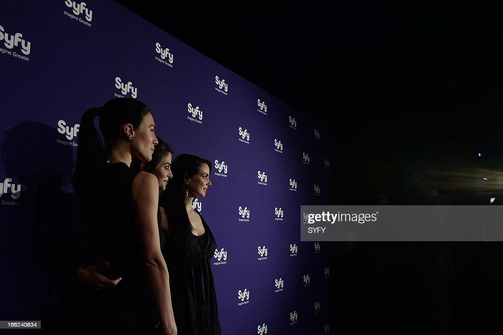 Syfy Upfront at Silver Screen Studios in New York City' -- Pictured: (l-r) Jaime Murray, <a gi-track='captionPersonalityLinkClicked' href=/galleries/search?phrase=Stephanie+Leonidas&family=editorial&specificpeople=716758 ng-click='$event.stopPropagation()'>Stephanie Leonidas</a>, Mia Kirshner --