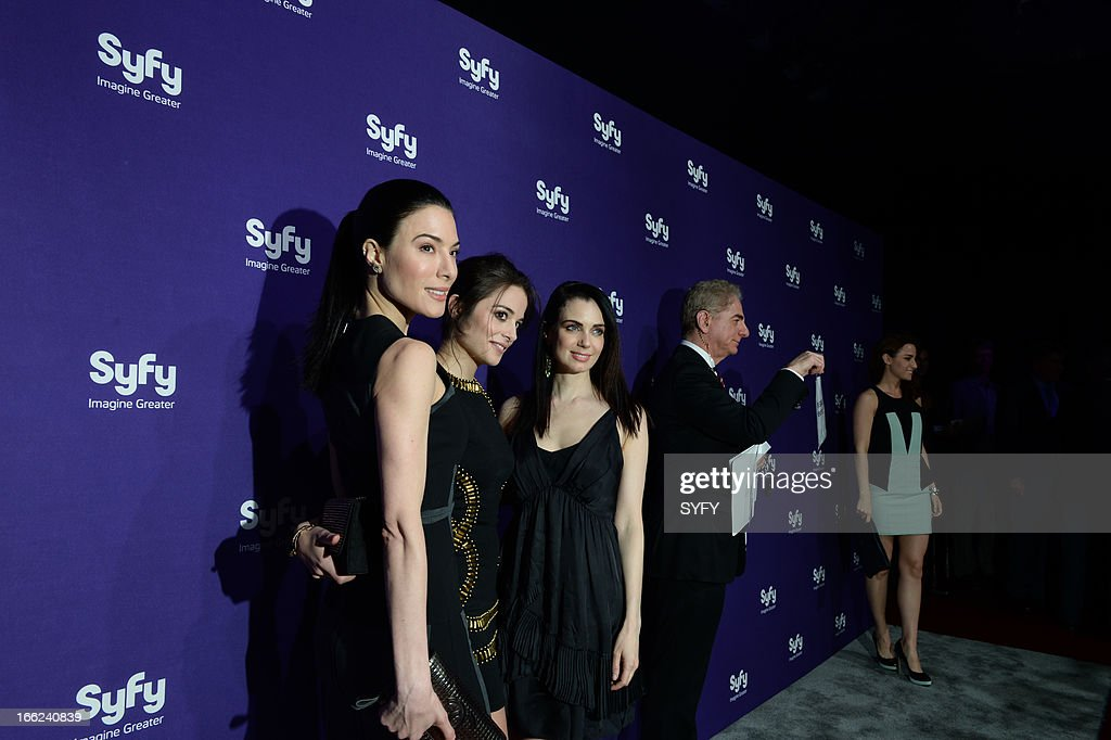 Syfy Upfront at Silver Screen Studios in New York City' -- Pictured: Jaime Murray, <a gi-track='captionPersonalityLinkClicked' href=/galleries/search?phrase=Stephanie+Leonidas&family=editorial&specificpeople=716758 ng-click='$event.stopPropagation()'>Stephanie Leonidas</a>, Mia Kirshner --