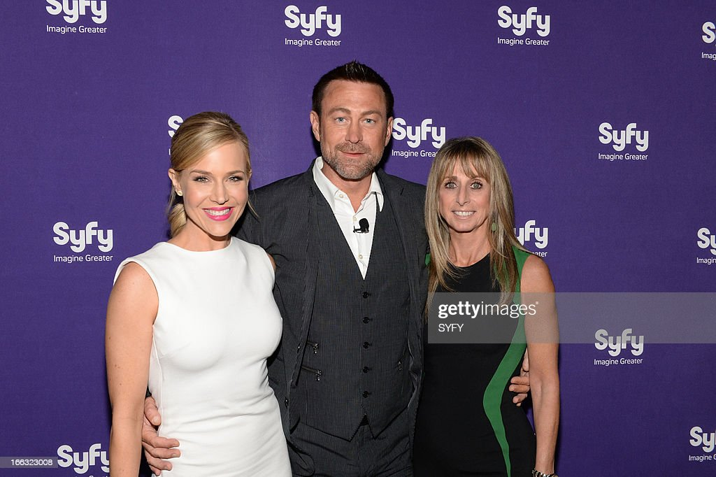 EVENTS -- '2013 Syfy Upfront at Silver Screen Studios in New York City' -- Pictured: (l-r) Julie Benz, Grant Bowler, Bonnie Hammer, Chairman, NBCUniversal Cable Entertainment --