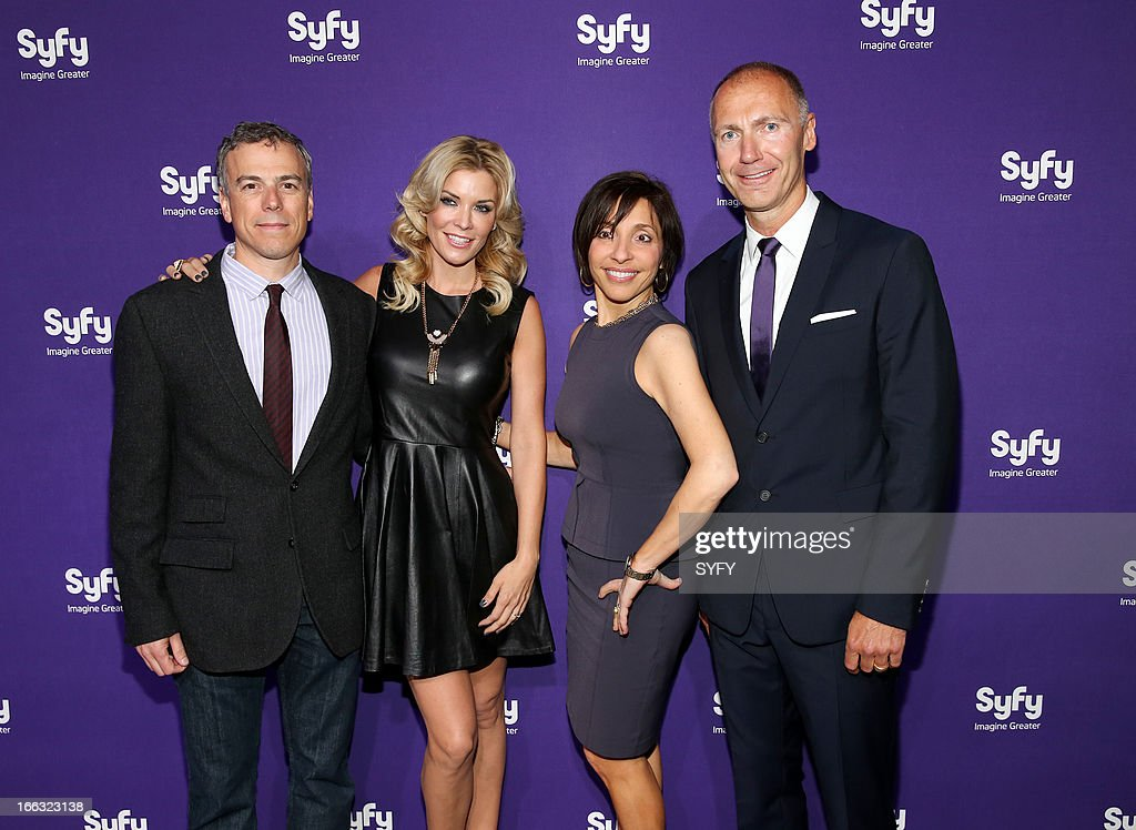 EVENTS -- '2013 Syfy Upfront At Silver Screen Studios in New York City' -- Pictured: (l-r) Mark Stern, President, Syfy Original Content & Co-Head Universal Cable Productions; McKenzie Westmore, 'Face Off'; Linda Yaccarino, President, Advertising Sales, NBCUniversal; Dave Howe, President, Syfy --
