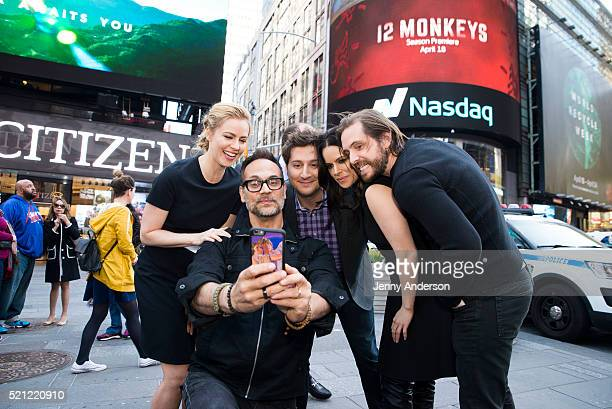 Syfy's '12 Monkeys' cast Amanda Schull Todd Stashwick Terry Matalas Emily Hampshire and Aaron Stanford ring the Nasdaq Stock Market Closing Bell at...