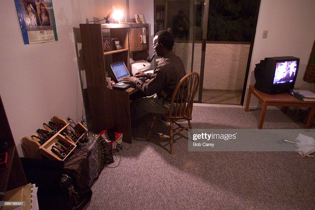 Syl Cheney–Colker writes at his laptop in his apartment in Las Vegas where he is the first writer in exile Las Vegas has been designated a City of...