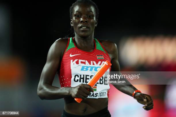 Sylivia Chematui Chesebe of team Kenya competes in the Women's 4 x 800 Meters Relay during the IAAF/BTC World Relays Bahamas 2017 at Thomas Robinson...