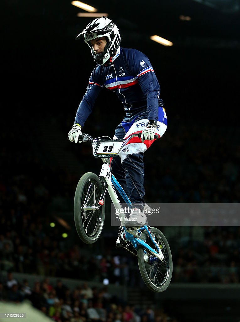 Sylvain Andre of France competes in the Elite Mens time trial during day four of the UCI BMX World Championships at Vector Arena on July 27, 2013 in Auckland, New Zealand.