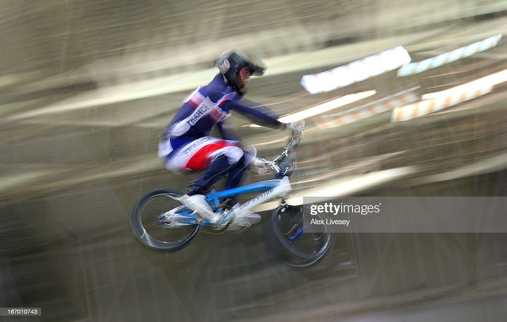 Sylvain Andre of France takes the first jump during the Men's Elite Time trials Superfinal in the UCI BMX Supercross World Cup at National Cycling Centre on April 19, 2013 in Manchester, England.